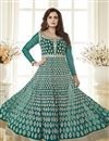 photo of Dia Mirza Cyan Color Embroidered Anarkali Salwar Suit In Georgette Fabric