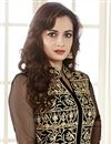 photo of Dia Mirza Black Color Embroidered Anarkali Salwar Kameez In Georgette Fabric