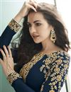 photo of Eid Special Georgette Function Wear Embroidered Navy Blue Floor Length Anarkali Dress