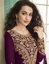 photo of Eid Special Georgette Function Wear Embroidered Purple Floor Length Anarkali Dress