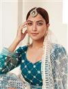 photo of Sangeet Wear Net Fabric Thread Embroiderd Lehenga Choli In Teal Color