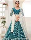 image of Sangeet Wear Net Fabric Thread Embroiderd Lehenga Choli In Teal Color