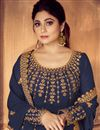 photo of Shamita Shetty Featuring Embroidered Georgette Navy Blue Party Wear Anarkali Salwar Kameez