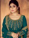 photo of Shamita Shetty Featuring Georgette Designer Embroidered Anarkali Salwar Kameez In Teal Color