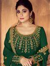 photo of Shamita Shetty Featuring Georgette Embroidered Dark Green Long Anarkali Salwar Suit
