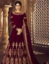 image of Shamita Shetty Maroon Georgette Function Wear Embroidered Long Length Anarkali Suit