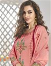 photo of Pink Color Designer Embroidered Readymade Palazzo Salwar Kameez In Art Silk Fabric