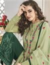 photo of Khaki Color Art Silk Fabric Function Wear Embroidered Readymade Palazzo Suit