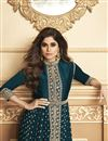 photo of Shamita Shetty Party Style Georgette Fabric Embroidered Anarkali Dress In Teal Color