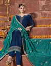 photo of Navy Blue Georgette Party Style Embroidered Designer Straight Cut Suit