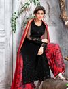 image of Black Color Designer Long Palazzo Salwar Suit Embroidery Work In Net Fabric