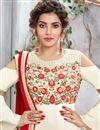 photo of Occasion Wear Art Silk Long Straight Cut Salwar Suit In Beige Color
