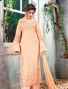 image of Embroidery Work Peach Color Function Wear Long Palazzo Salwar Kameez In Art Silk