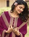 photo of Prachi Desai Burgundy Color Party Style Embroidered Georgette Fabric Anarkali Salwar Kameez