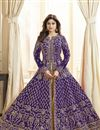 image of Shamita Shetty Designer Georgette Party Wear Blue Anarkali Suit With Embroidery