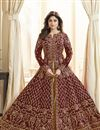 image of Shamita Shetty Georgette Designer Party Wear Anarkali Dress In Maroon With Embroidery