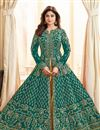 image of Shamita Shetty Wedding Wear Designer Anarkali Dress With Embroidery Work