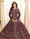 image of Shamita Shetty Purple Art Silk Designer Wedding Wear Anarkali Suit
