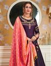 picture of Party Style Embroidered Readymade Gown In Wine Satin Silk With Fancy Dupatta