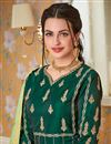 picture of Satin Silk Wedding Wear Teal Designer Readymade Gown With Heavy Dupatta