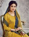 photo of Trendy Art Silk Fabric Festive Wear Embroidered Yellow Color Palazzo Suit