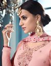 photo of Wedding Special Embroidery Work On Pink Designer Sharara Suit In Georgette