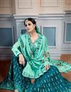 photo of Wedding Special Georgette Aqua Color Occasion Wear Sharara Suit With Embroidery Work