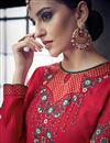 photo of Red Color Embroidered Fancy Fabric Readymade Anarkali Dress