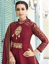 photo of Maroon Festive Wear Fancy Embroidered Readymade Anarkali Suit In Art Silk