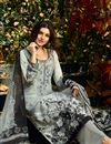 photo of Ready to Ship Grey Crepe Casual Printed Palazzo Suit