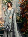 image of Ready to Ship Grey Crepe Casual Printed Palazzo Suit
