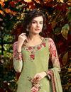 photo of Ready to Ship Mehendi Green Crepe Printed Casual Wear Dress