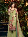image of Ready to Ship Mehendi Green Crepe Printed Casual Wear Dress