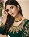 photo of Designer Georgette Party Style Dark Green Embroidered Straight Cut Suit