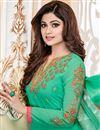 photo of Shamita Shetty Straight Cut Churidar Georgette Suit In Green