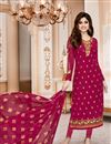 image of Shamita Shetty Straight Cut Churidar Georgette Suit In Magenta