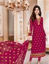 image of Shamita Shetty Straight Cut Churidar Georgette Suit In Magenta