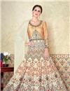 image of Designer Cream Satin Digital Print Long Party Wear Anarkali Salwar Kameez