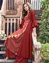 photo of Designer Occasion Wear Maroon Color Kurti In Jacquard Fabric