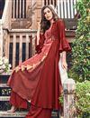 photo of Designer Occasion Wear Maroon Color Kurti In Jacquard Fabric