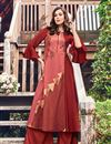 image of Occasion Wear Jacquard Fabric Kurti In Maroon Color