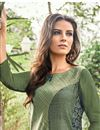 photo of Fancy Print Function Wear Jacquard Fabric Green Color Kurti