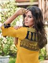 photo of Jacquard Fabric Mustard Color Printed Occasion Wear Kurti
