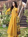 image of Jacquard Fabric Occasion Wear Mustard Color Fancy Kurti
