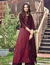 image of Party Wear Jacquard Fabric Wine Color Kurti With Fancy Print