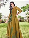 image of Stylish Jacquard Fabric Function Wear Fancy Print Golden Color Kurti