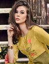 photo of Attractive Jacquard Fabric Party Wear Golden Color Kurti