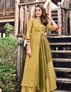 image of Attractive Jacquard Fabric Party Wear Golden Color Kurti