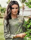 photo of Vibrant Jacquard Fabric Printed Function Wear Grey Color Kurti