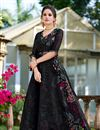 image of Fancy Fabric Party Wear Gown In Black Color With Fancy Work